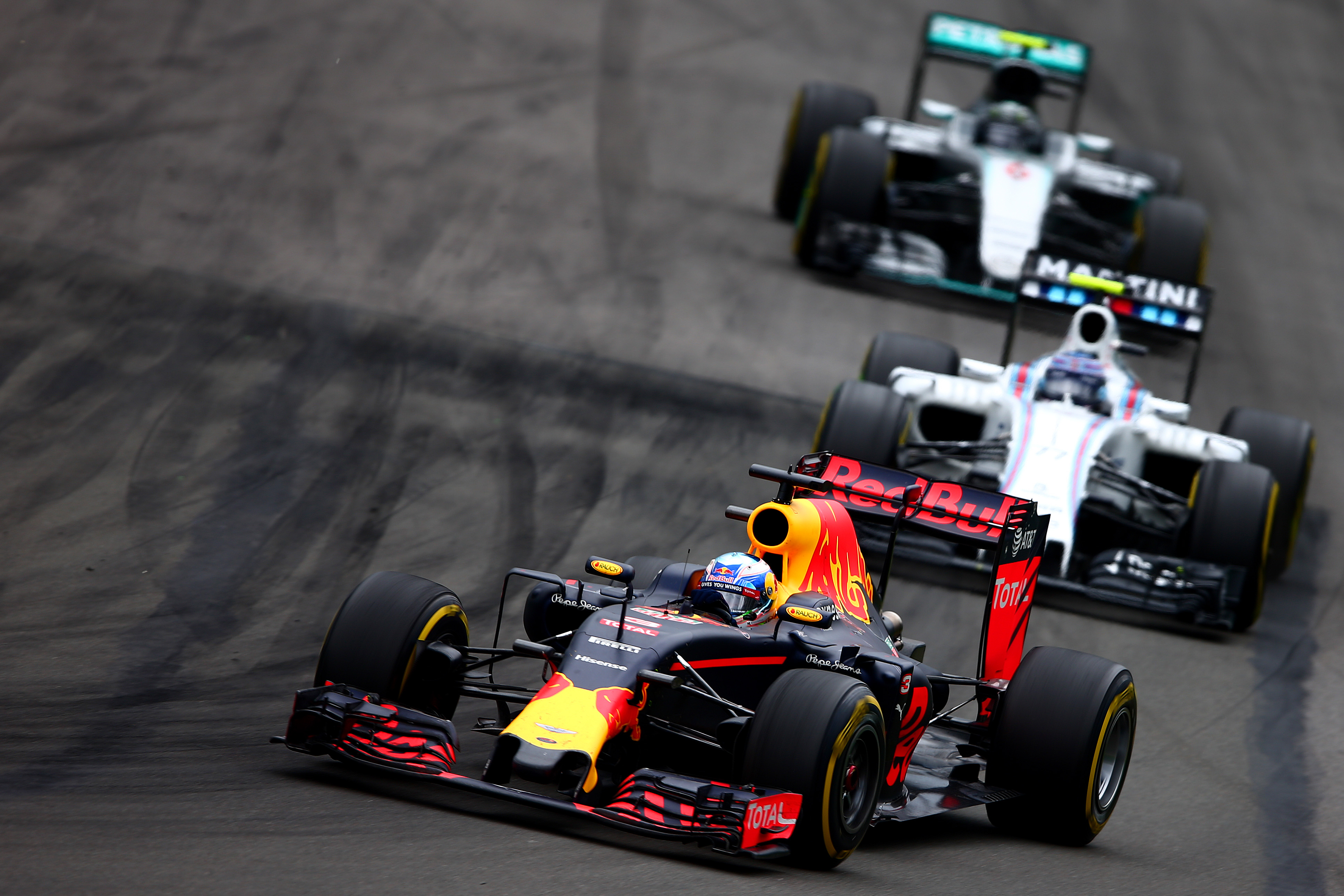 Daniel Ricciardo in the Red Bull leads the Williams of Valtteri Bottas and Nico Rosberg's Mercedes in Montreal. But nothing went right for the Perth driver.