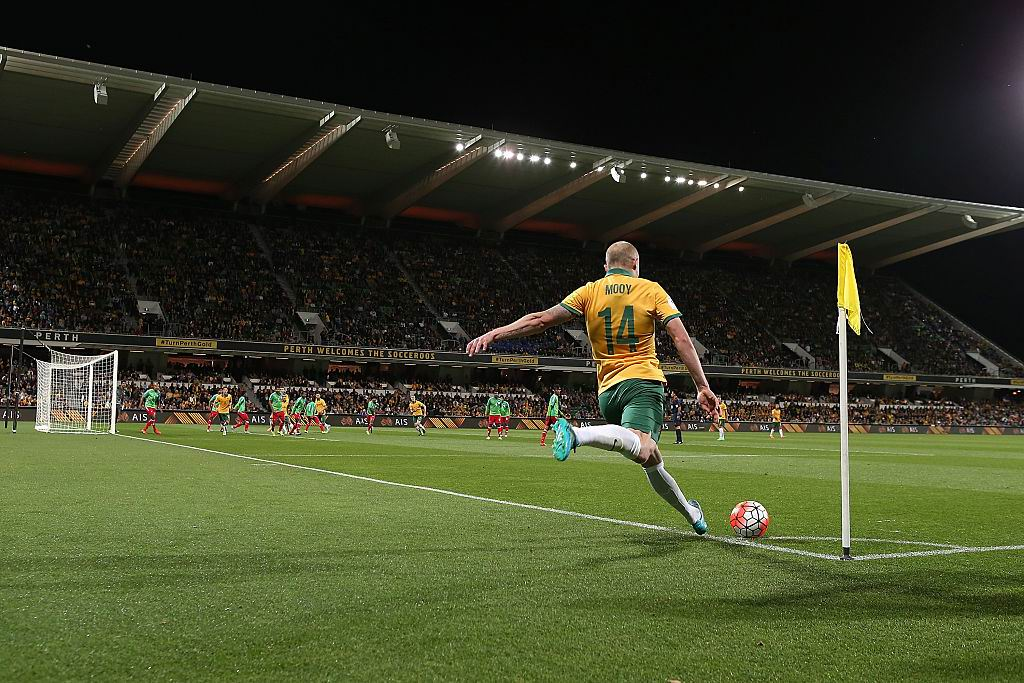 Aaron Mooy during the last match the Socceroos played in Perth, on September 3 last year. Picture: Paul Kane/Getty Images