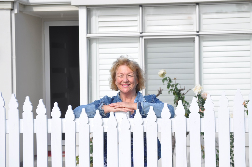 Heather Thomson outside her multi-generational cottage-block home in Myaree.
