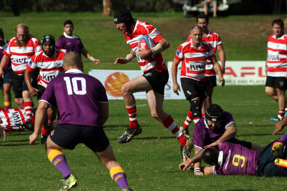 Adam Sutherland skips out of a tackle during Arks' clash with Rockingham last weekend.
