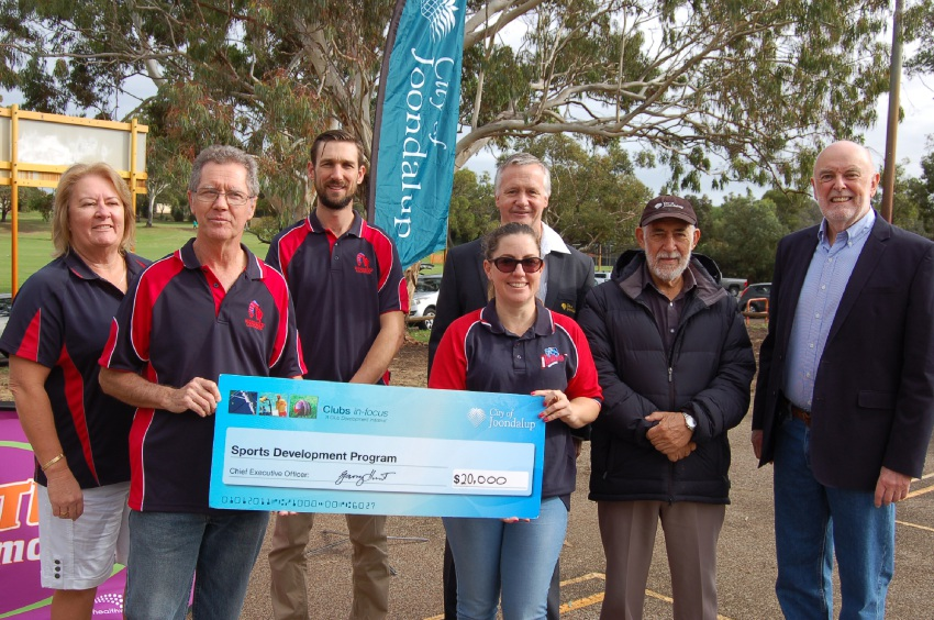 Club members and Joondalup dignitaries celebrate the grant.