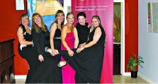 Colleen Bitmead and staff from the Bendigo Community Bank at the black-tie event.