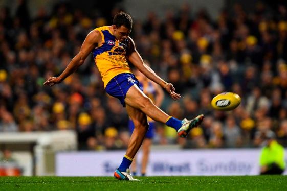 Josh Hill kicks on goal in Saturday's bad loss to the Crows. Picture: Daniel Carson, AFL Media