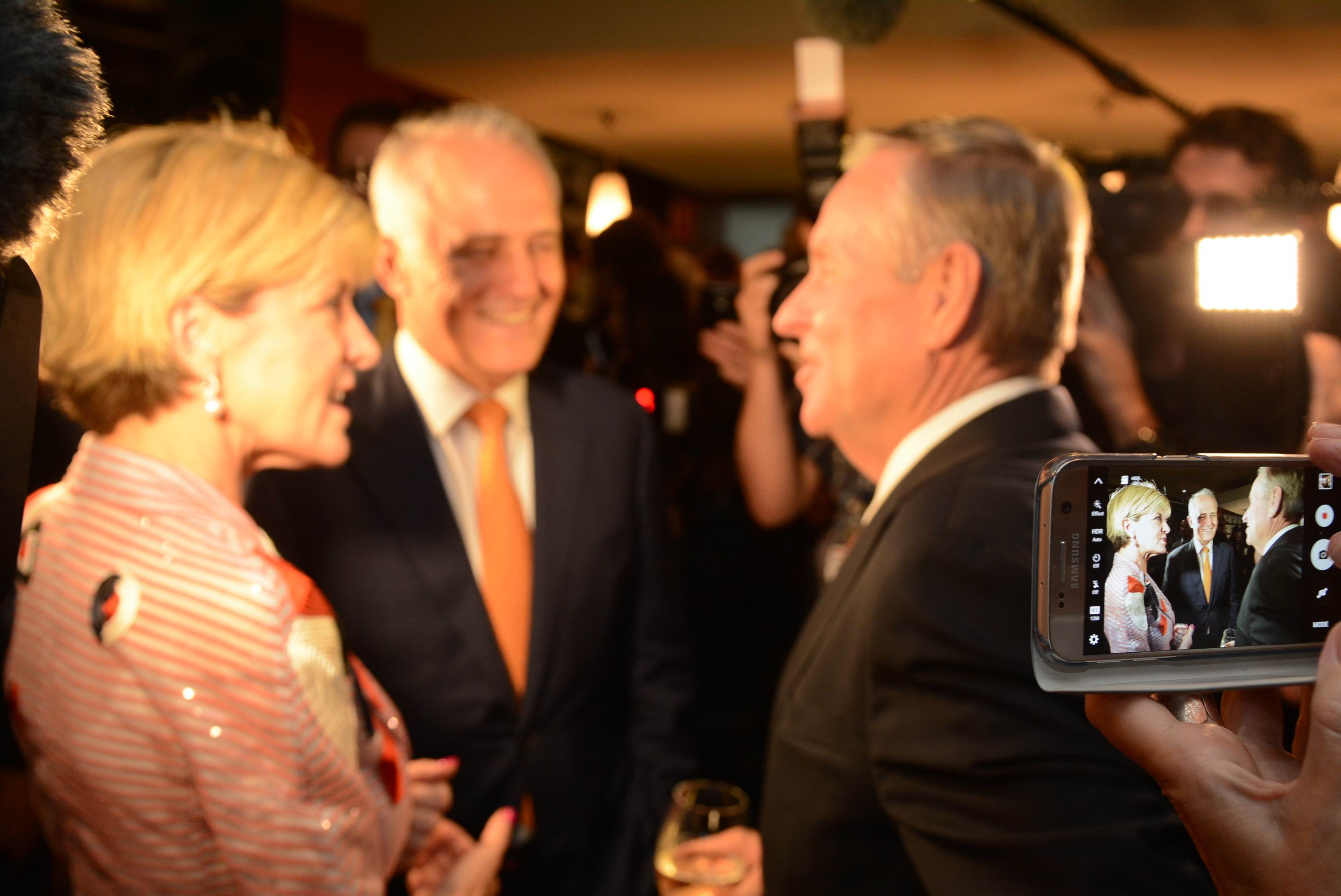 Julie Bishop's campaign launch brings Prime Minister Malcolm Turnbull and Premier Colin Barnett together at last