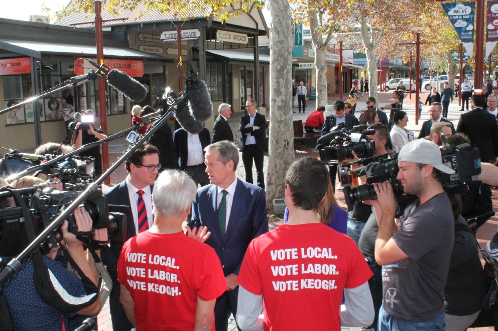 Bill Shorten and Matt Keogh talk to the media in Armadale on Tuesday.