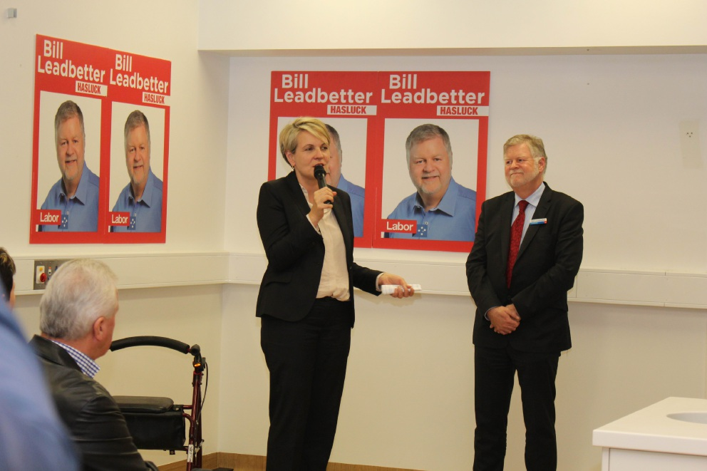 Bill Leadbetter with Deputy Opposition Leader Tanya Plibersek at the campaign launch.
