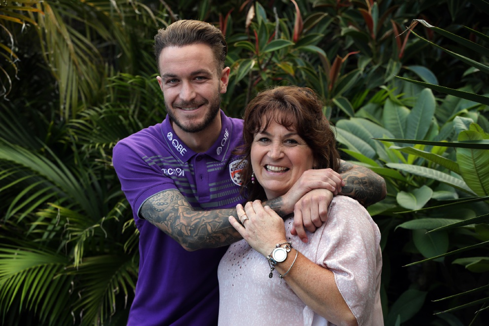 Perth Glory player Adam Taggart with his mother Sue at the family home in Kinross. Picture: Martin Kennealey www.communitypix.com.au   d455580