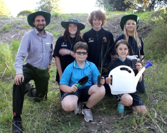 Teacher Timothy Shaw and Year 8 bushrangers Holly Williams, Daniel Ravese and Lucy Elt and, in front, green team students Cameron Shanks and Abby Morris.