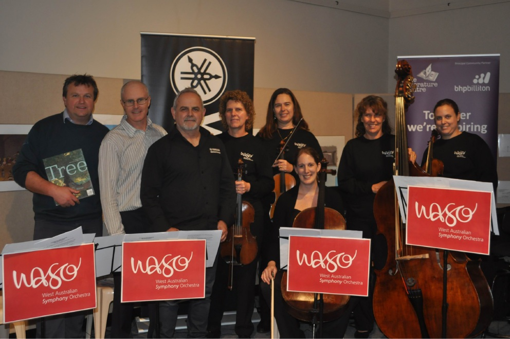 In tune: WASO musicians, with Danny Parker (far left) and Matt Ottley (second from left) brought the picture book Tree to life.