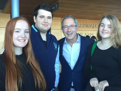 Ben Elton with competition winners Laura Kendell, Joel Gal and Lexi Sleet.