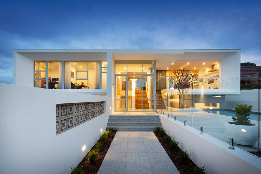 Top left-right: City Beach Residence III exterior and interior. Bottom left-right:  Empire East and Mosman Bay House.