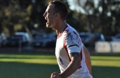 ECU Joondalup striker Gordon Smith celebrates his goal.