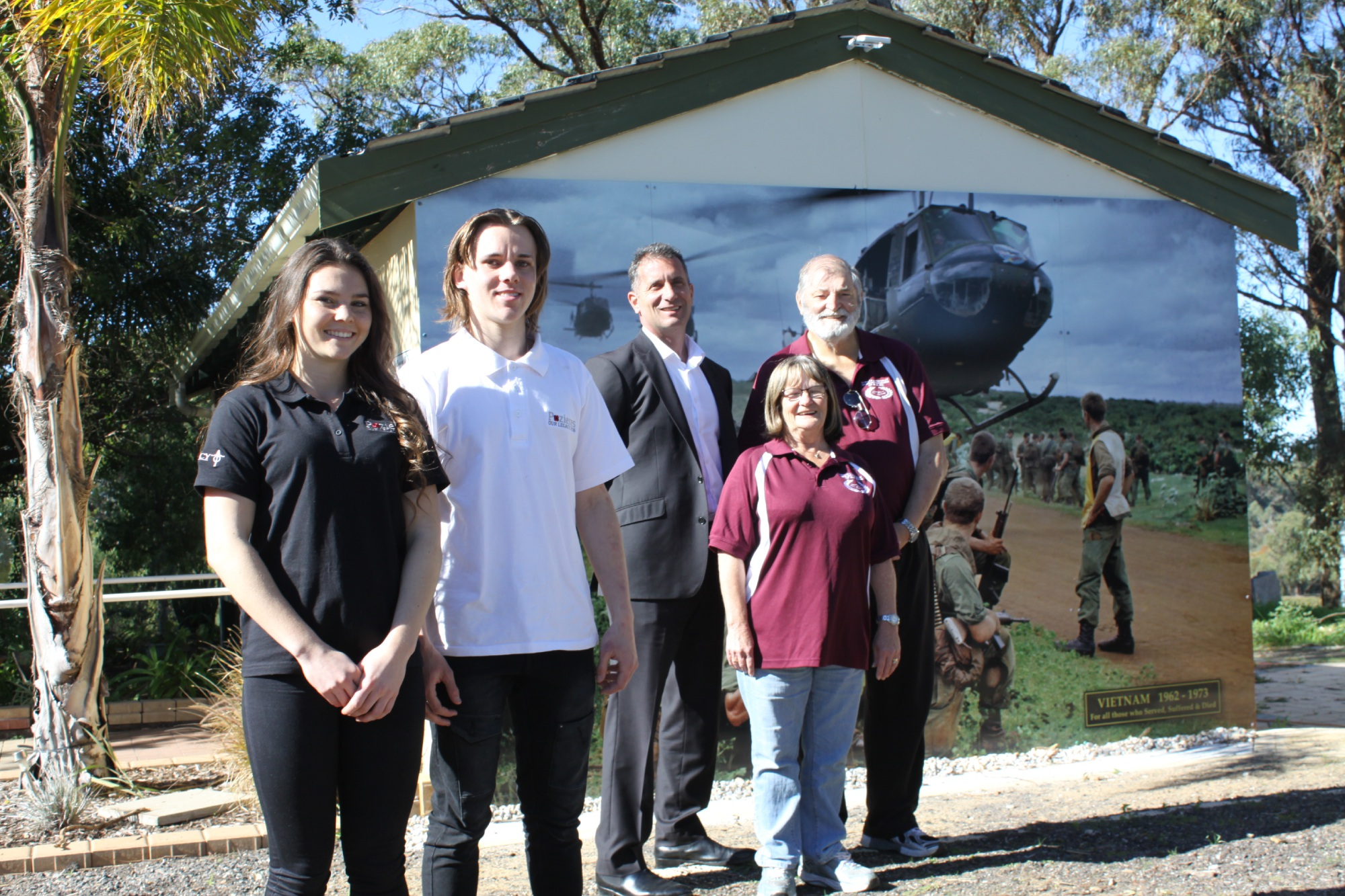 Kirstie, Jared, Warnbro MLA Paul Papalia with TPDVWA treasurer Pam Perkins and senior |vice-president David Perkins.