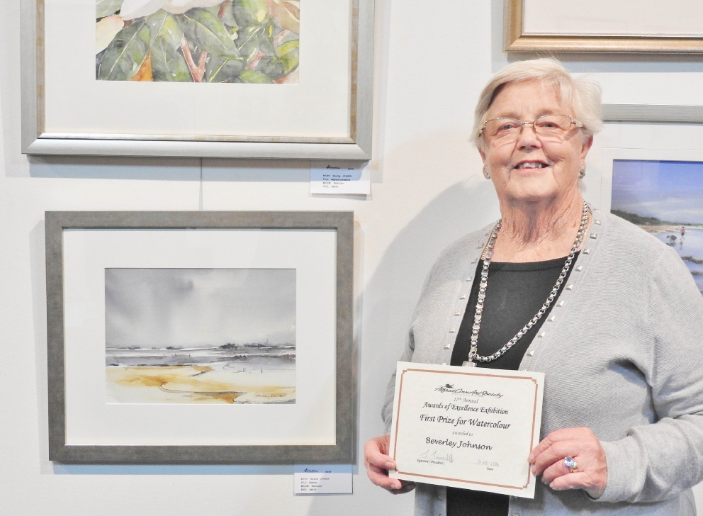Top: Yanchep Shore by Marcia Morrow was highly commended by the judges. Above left: Rose Seale won the pastels section. Above right: Beverley Johnson won the watercolours section.