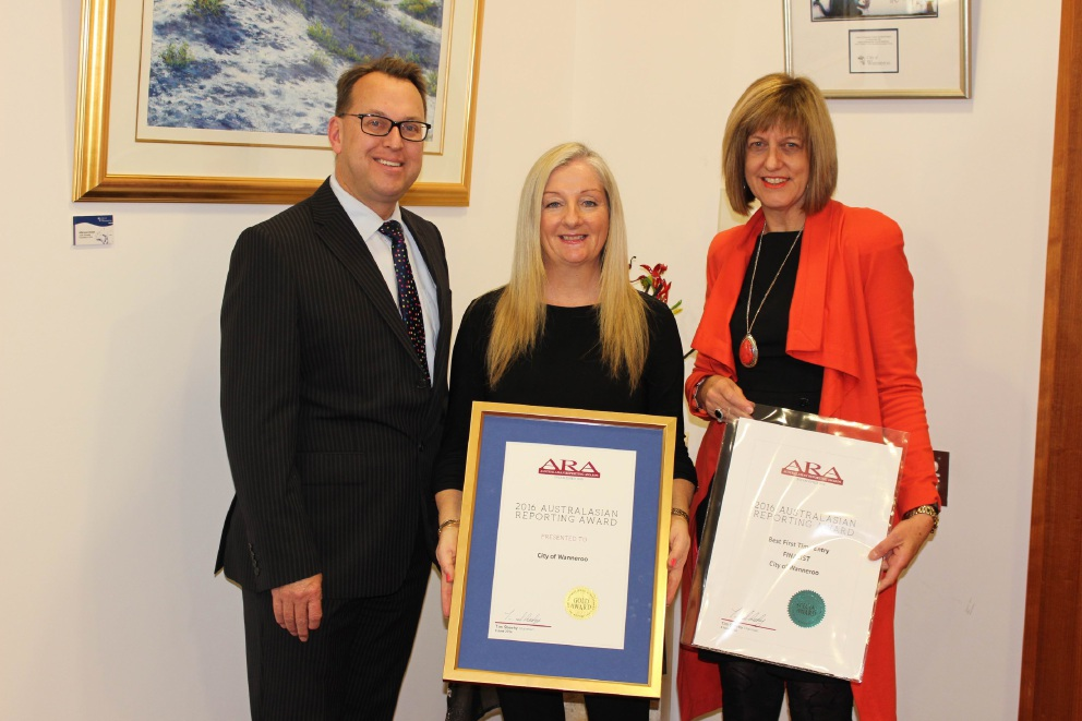 Wanneroo Mayor Tracey Roberts, CEO Daniel Simms and corporate strategy and performance director Noelene Jennings.