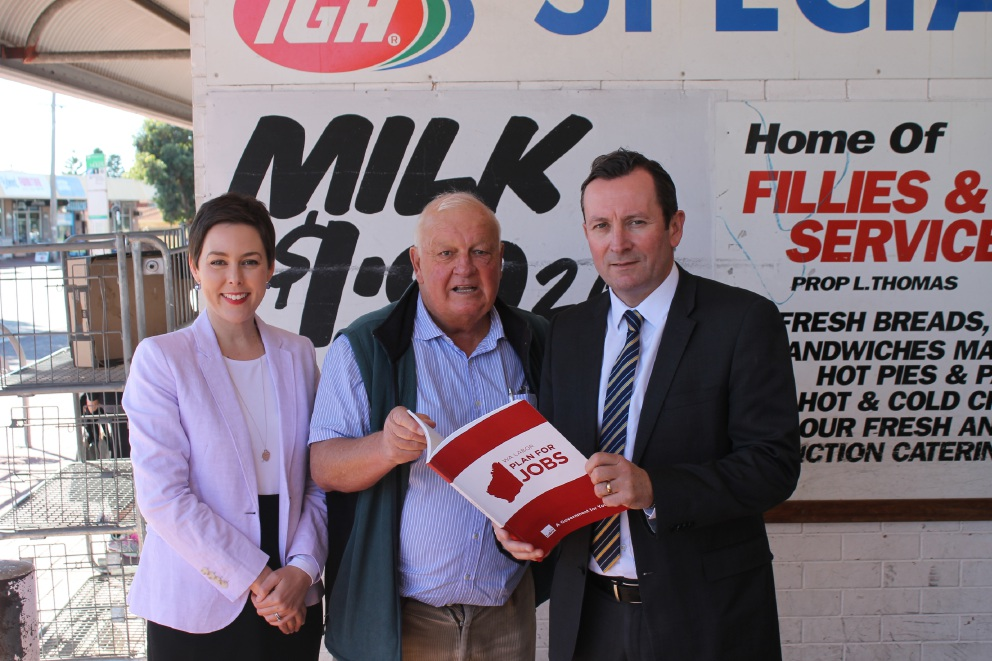 Labor candidate Cassie Rowe, IGA supermarket owner Wally Daly and Mark McGowan talk about jobs during his recent visit to Belmont businesses.