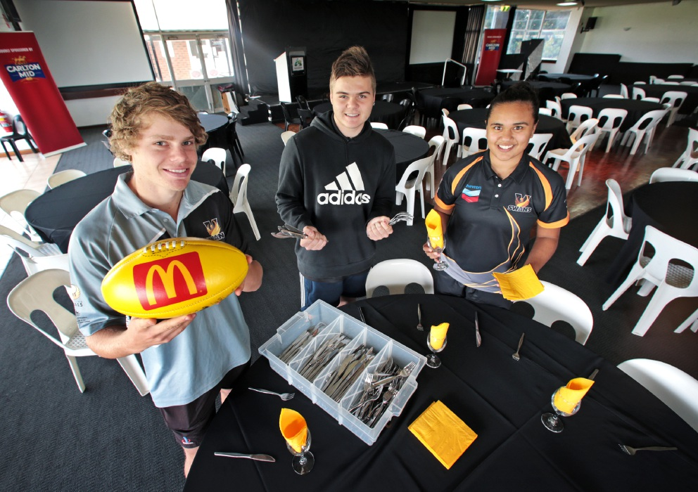 Sachin Barr, Rhyce Butcher and Emily McGuire on work experience at Swan Districts Football Club. Picture: David Baylis www.communitypix.com.au   d455608