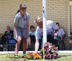 Quinns Baptist College students Melissa Simpson (yr 6) and Sam Randall (yr 12). Quinns Rocks RSL Remembrance Day service
