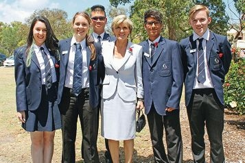 One for the album: Students Zoe Waters, Ellie-Rose Rogers, head boy Wayne Tan, Pujan Bajaria and Andrew Dores pose for a picture with Foreign Affairs Minister Julie Bishop.
