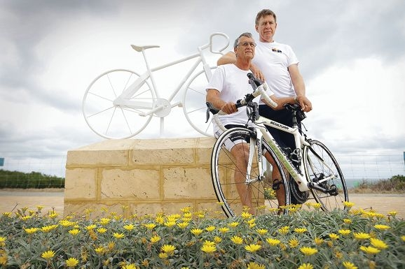 Ian Anderson and Ron Alexander. Cyclists will meet at Harvey Field, Cottesloe from 5.15pm to ride to the white bike memorial opposite Beehive Montessori School by about 6.20pm. The service will finish about sunset. Picture: Andrew Ritchie d428719