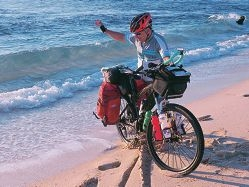 Dipping his bike's wheel in the ocean marked the start and finish of Peter Stotzer's ride from Perth to Sydney.