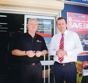 Warren Forder, the owner of Morley Camera House, and Opposition leader Mark McGowan are concerned about crime in Morley.