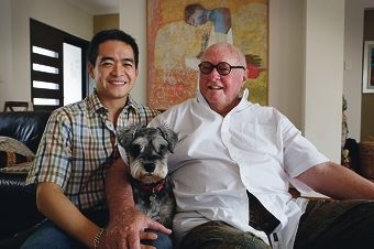 Koji Yamanaka and Robert Hart with Markus the dog. Picture: Andrew Ritchie www.communitypix.com.au d429740