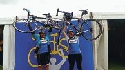Top: Sue Kingsley and Sally Bone at the Ride to Conquer Cancer. Above: Sue and Sally with |Rabina Coplin, centre.
