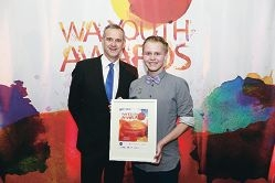 James Clarke, named 2014 WA Young Person of the Year for his crusade for human rights, with Youth Minister Tony Simpson.