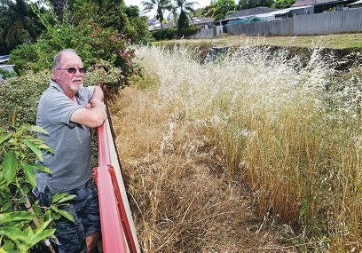 John Penglase of Armadale looks at the weeds next to his property. Picture: David Baylis d429554