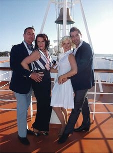 Duncraig resident Genevieve Newman, second from right, is Hope Harcourt in Anything Goes with Hillarys resident Justin Vallow as Lord Evelyn Oakleigh, Jen Edwards as Reno Sweeney and Carramar resident Terry Pirlo as Billy Crocker.