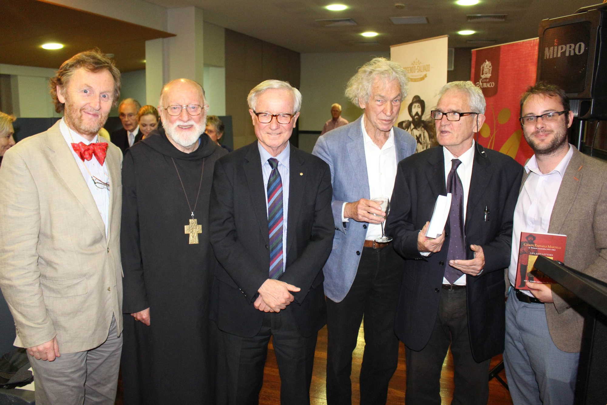 Fred Chaney (third from left) with authors and translators (from left) John Kinder, Bernard Rooney, Bob Reece, Peter Gilet and Joshua Brown.