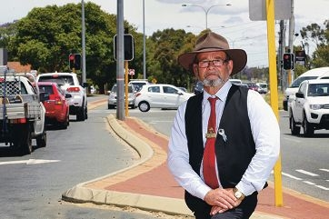 Gosnells Mayor Dave Grifiths at the intersection of Albany Highway and Olga Road. Picture: Marcelo Palacios www.communitypix.com.au d429563