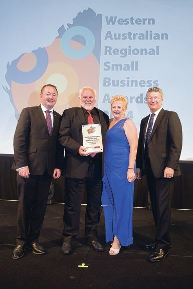 Small Business Minister Joe Francis with winners Rod and Cheryl Bishop and Small Business Commissioner David Eaton.