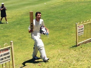 Matthew Russo returns to the pavilion following his splendid 166 not out.