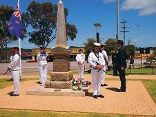 Willagee MLA Peter Tinley lays a wreath during last Tuesday's Remembrance Day service in Hamilton Hill.