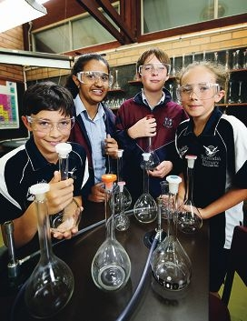 Students Corey Lalacci, Mahima Balaji, George Skyrme and and Daniella McNaught joined forces to carry out hands-on science experiments.