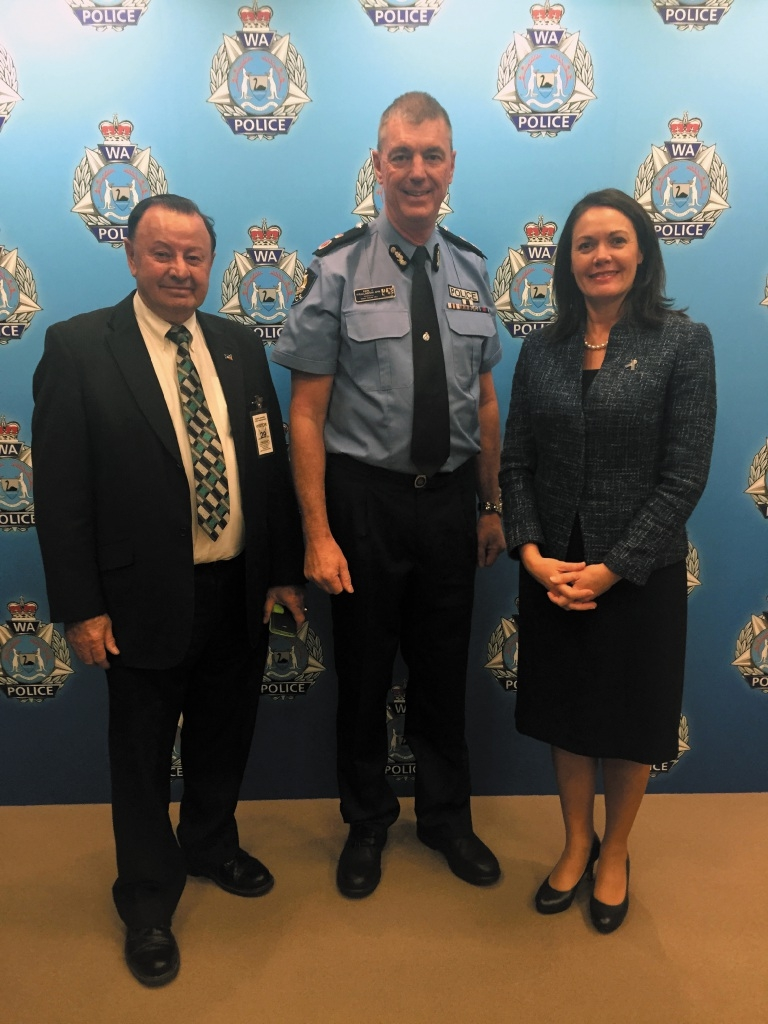 Swan Hills MLA Frank Alban, Police |Commissioner Karl O'Callaghan and Police Minister Liza Harvey.