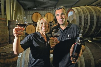 Hilda and James Talijancich with their world-beating shiraz.