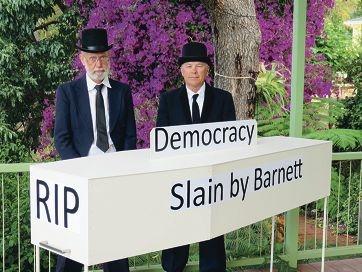Save Kalamunda Shire Action Group members John Humphreys and Rob McArthur.