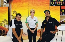 Lee-Anne Smith and Halo students Lewis Abdullah and Fabian Keighran. Picture: Martin Kennealey www.communitypix.com.au d375978