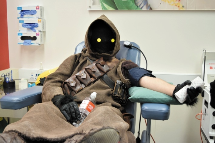 A Jawa, one of the unusual characters to give blood at the Cannington centre, is from the Desert Scorpion Squad whose members donated on June 14.