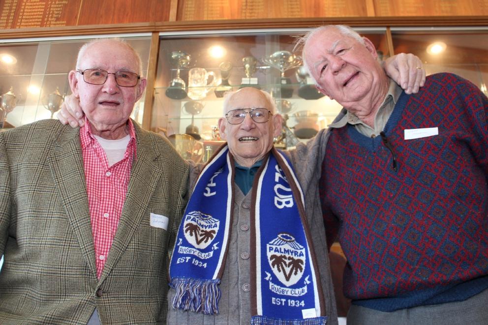 Palmyra's 1948 premiership-winning front row Geoff Wayman, George Johnson and Jeff Martin.