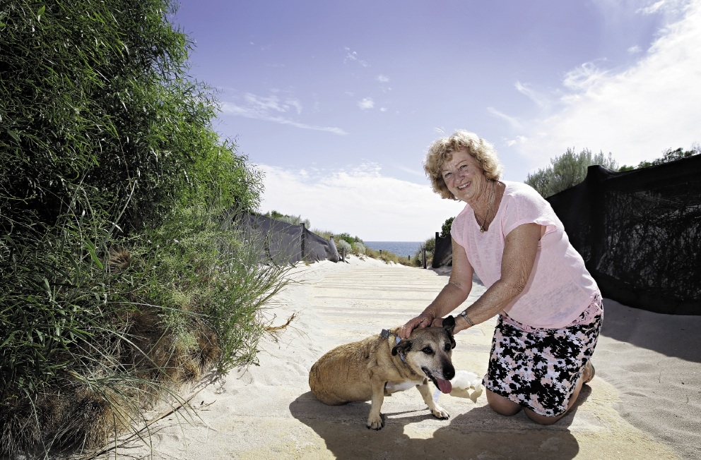 Toby needs a walk: Peree Mehment and pooch. Picture: Elle Borgward d433492