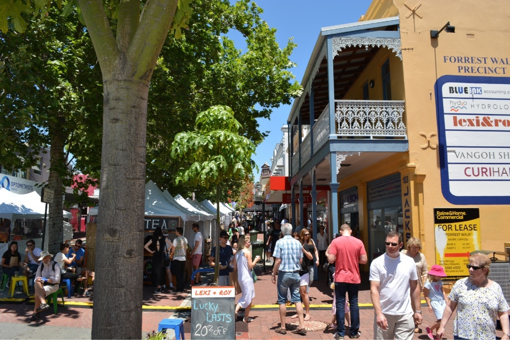 The entrance to Forrest Walk during Markets on Rokeby. Picture: Rosanna Candler