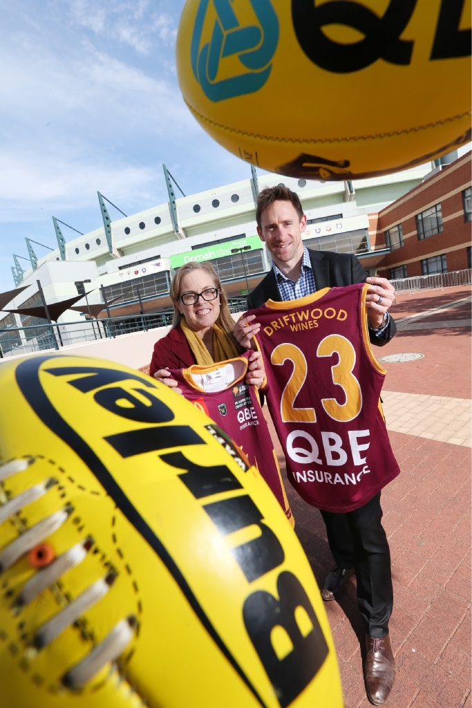 Mirabooka MLA Janine Freeman with Darren Rumble from the Subiaco Football Club.  Picture: Andrew Ritchie         d443885