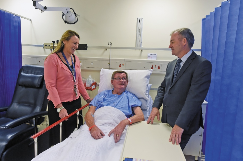 Clinical nurse manager Leesa Kerr  and Health Minister Kim Hames with Doug Williams, from Shoalwater. Picture: Jon Hewson          d439272