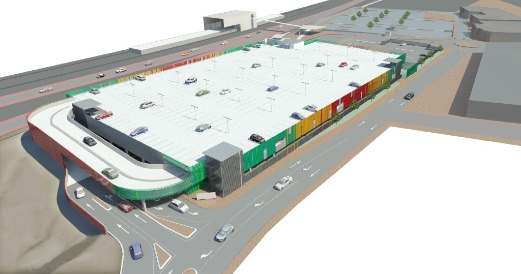 An artist impression of the multi-storey carpark at Edgewater train station.
