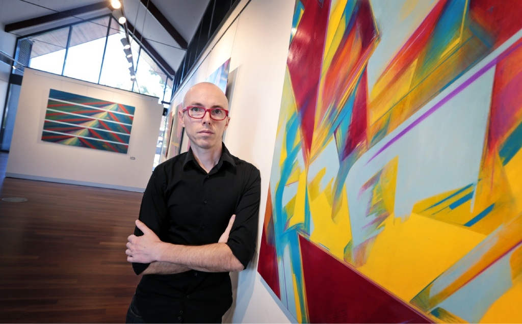 Ronan Lane and his artwork at the Zig Zag Gallery in Kalamunda. Picture: David Baylis       d447738