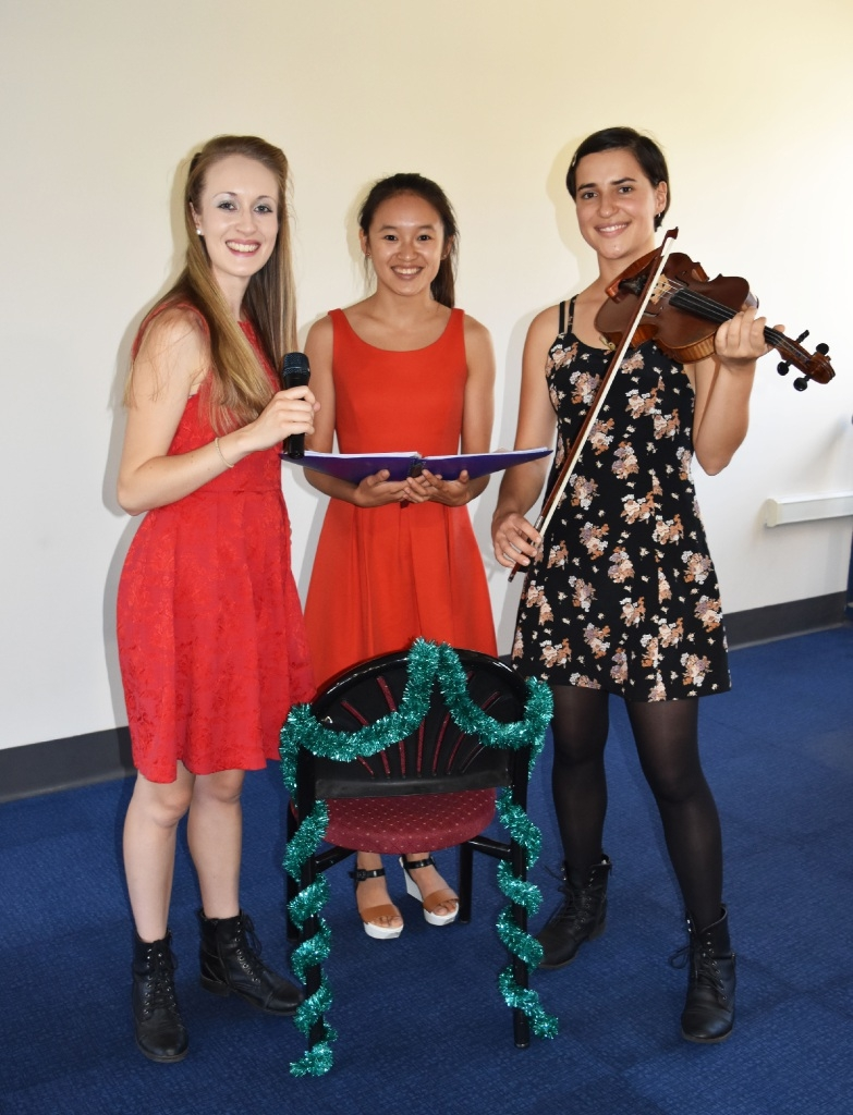 Stephanie Sim (centre) with WAAPA students and musicians Hollie Burbage and Pippa Lester.